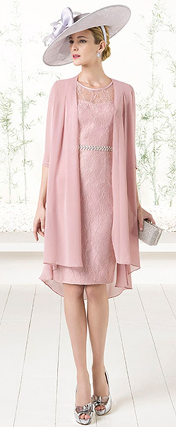 Charming Lace & Chiffon Scoop Neckline Illusion Sleeves Knee-length ...