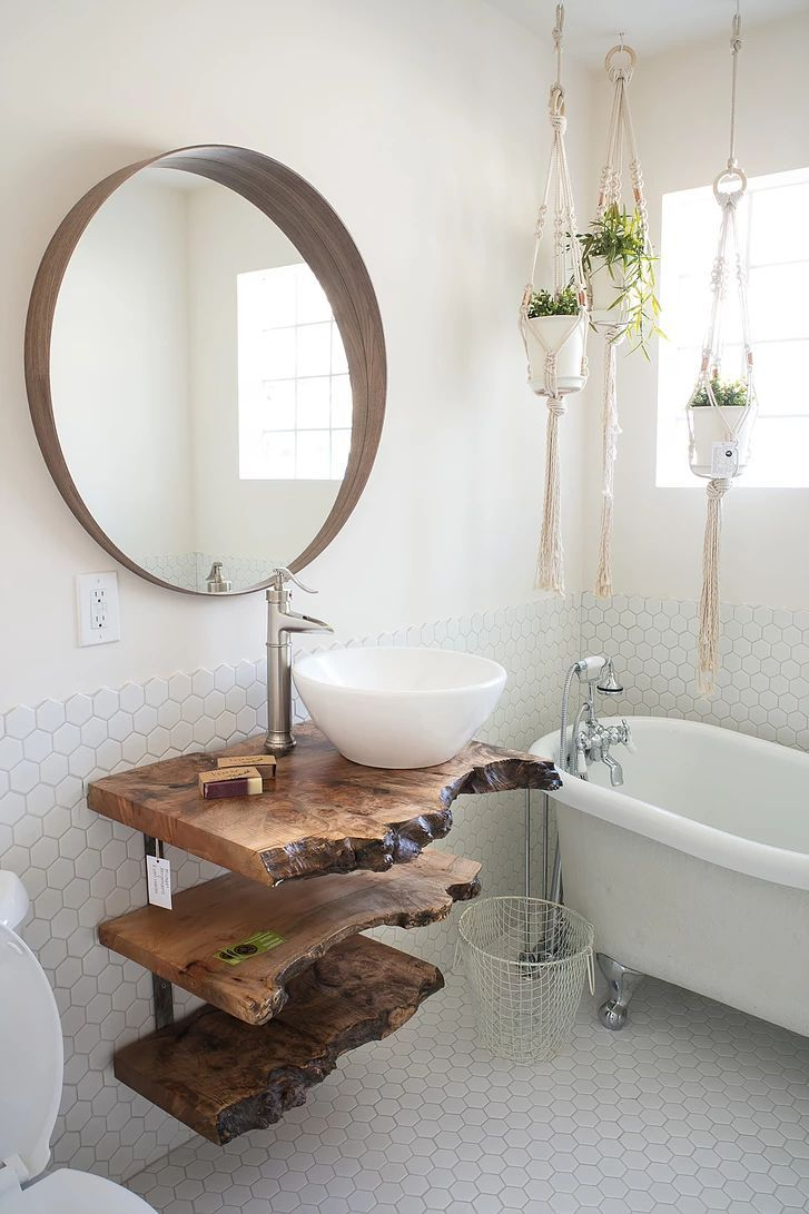 Rustikale Bäder Maple Live Edge Bathroom Vanity | Rustikale Bäder, Live-rand Möbel, Bad Inspiration