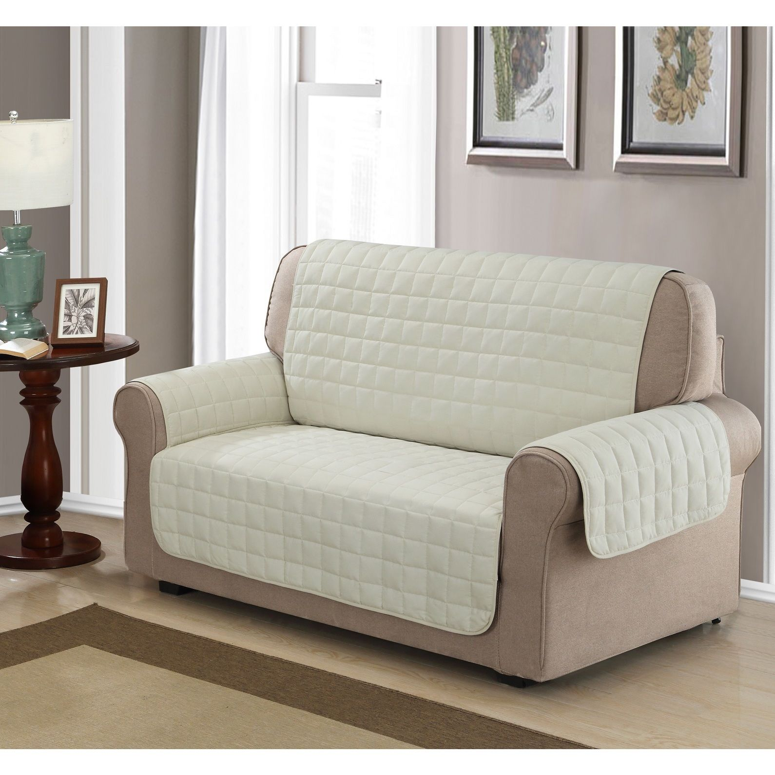 Pleasant Chic Home Box Quilted Quick Draped Ivory Loveseat Cover Dailytribune Chair Design For Home Dailytribuneorg