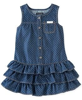 bf845ceb9 She'll feel like a true denim princess in this polka dotted ruffle dress  from Guess. | Cotton/polyester | Machine washable | Imported | GUESS little  girls