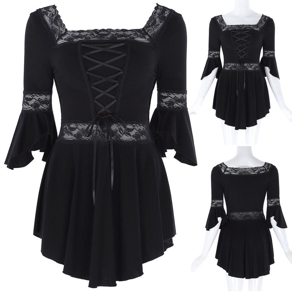 Women lady vintage victorian gothic renaissance peasant gypsy blouse