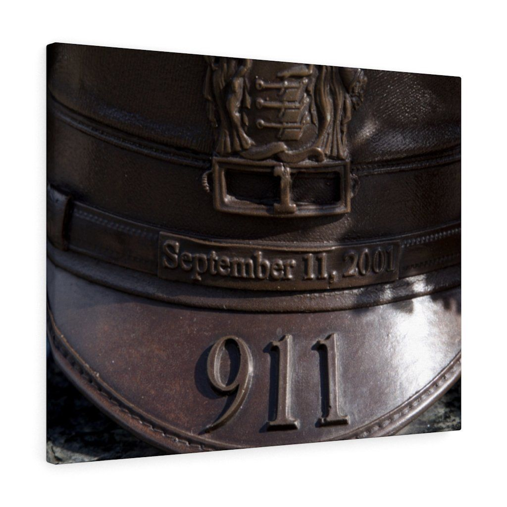 Photo of Bronze 9/11 Police Man's Hat~ Our Gallery Wrapped Modern Print Canvas Wall Art Is A Perfect Addition To Every Room. Ready to Hang. Made In The USA!