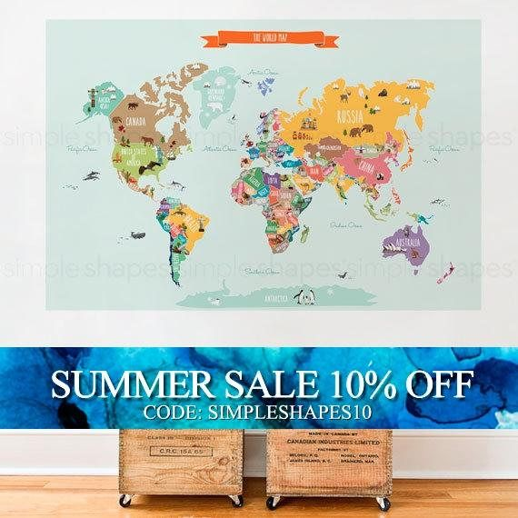 World map decal countries of the world map kids country ruby holiday sale world map decal countries of the world map kids country world map poster peel and stick poster sticker world map gumiabroncs Gallery
