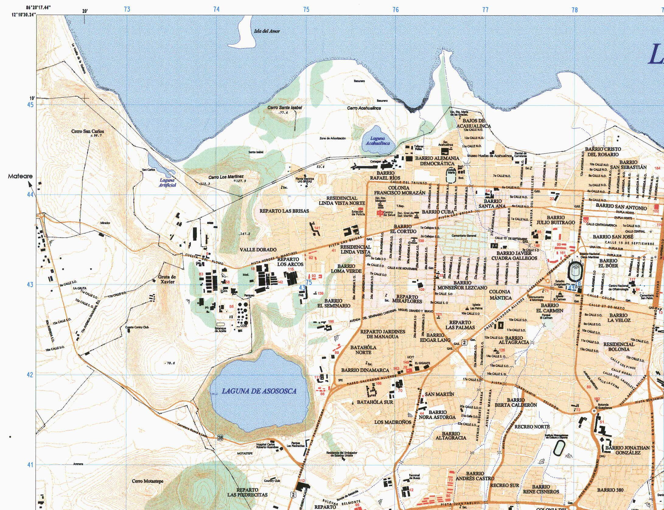 Managua Partial Map Nicaragua 1 Thesis Pinterest Managua