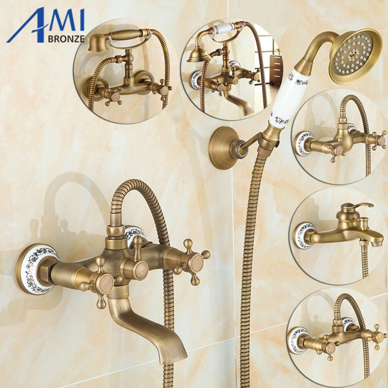 Promo Antique Brushed Brass Bath Faucets Wall Mounted Bathroom Basin