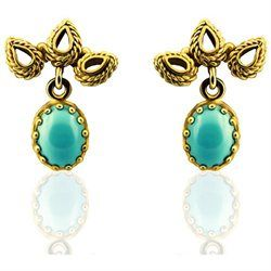 14K Yellow Gold Vintage Style 1CT Turquoise Earrings vintage turquoise earrings