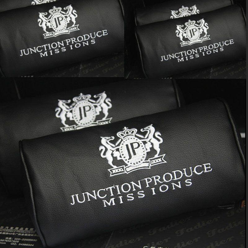 2 개/몫 접합 생산 JP 자동차 장식 가죽 자수 로고 목 베개/머리 받침 블랙