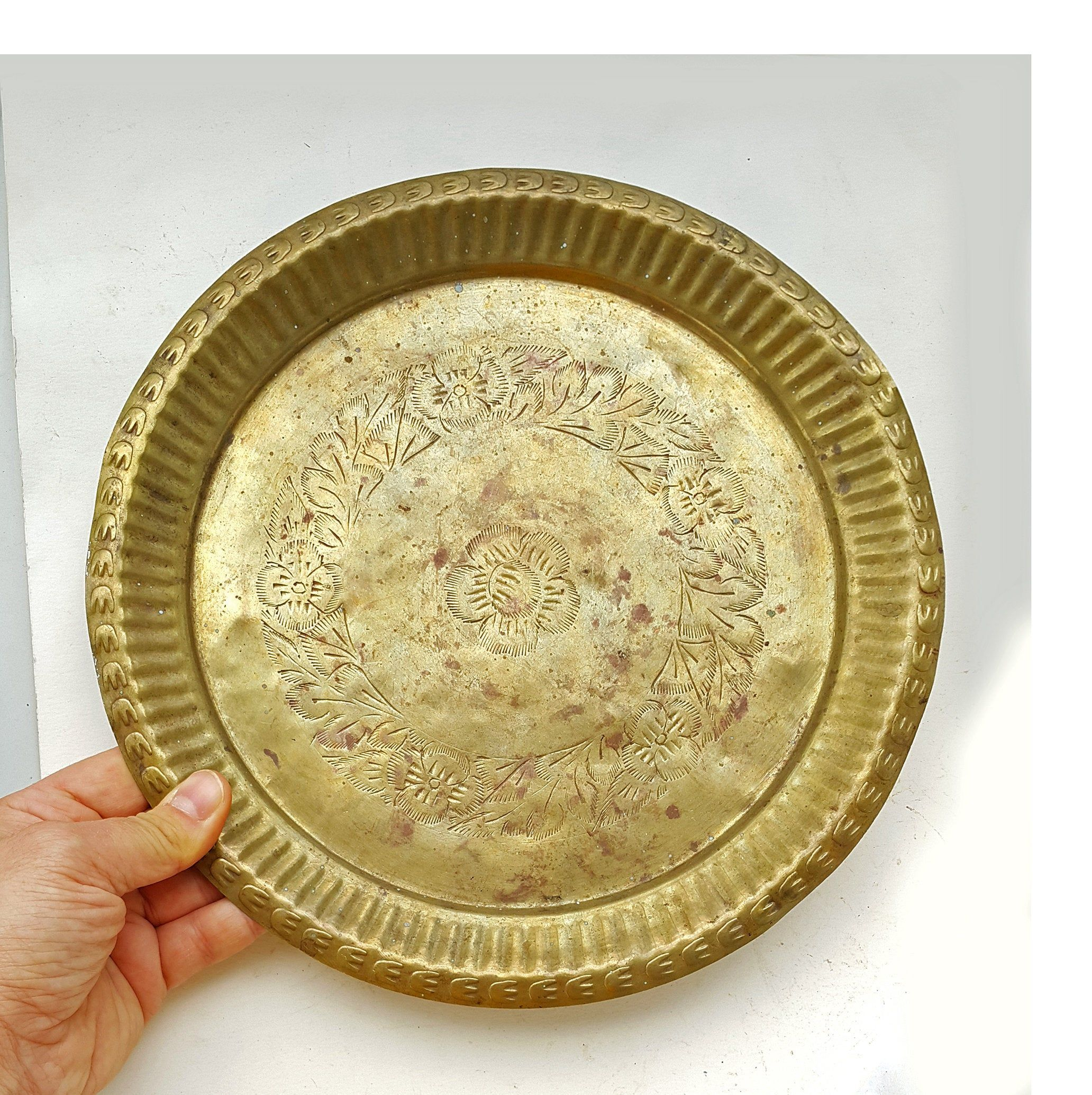 Vintage Brass Tray Small Metal Round Tray Etched Brass