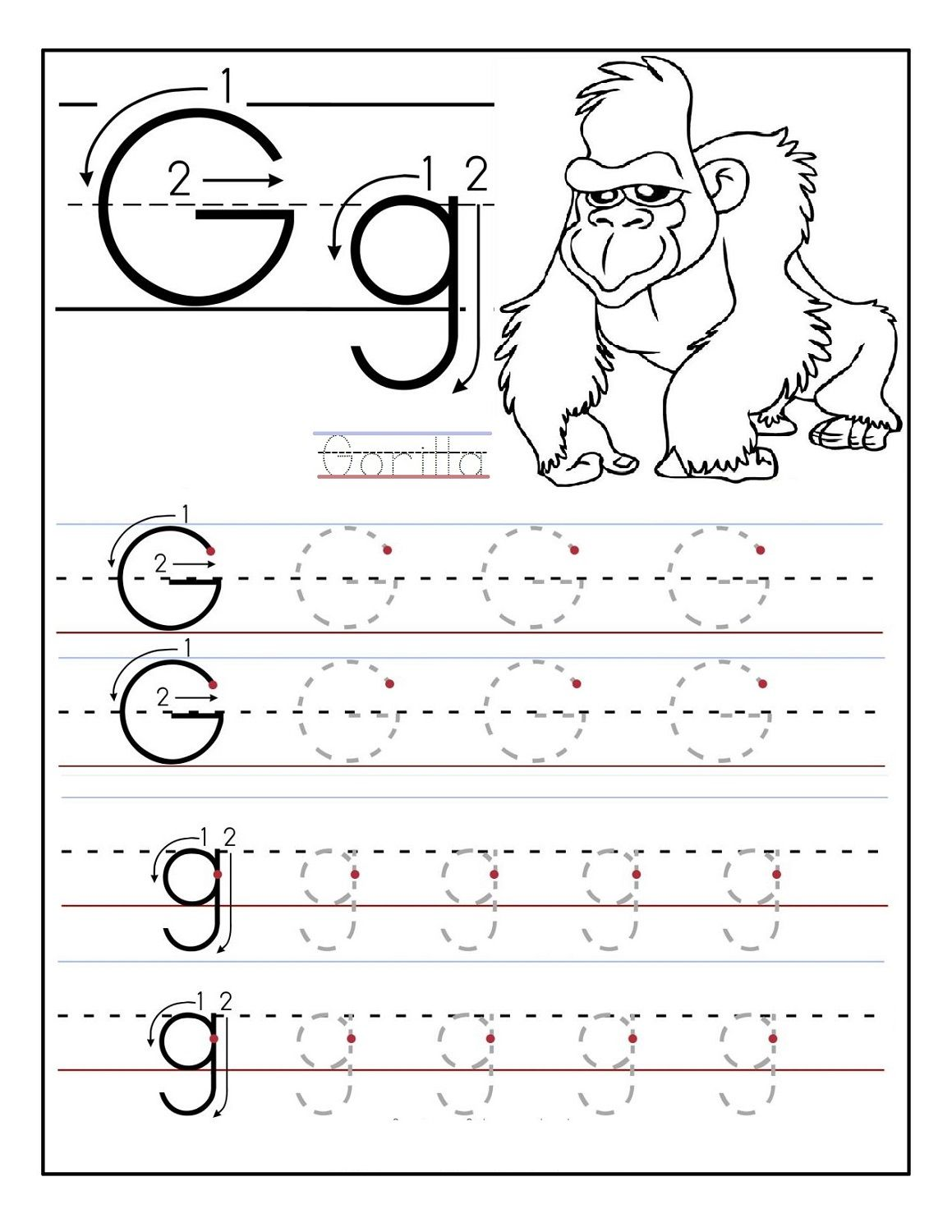 Free Traceable Alphabet Worksheets Gorilla With Images
