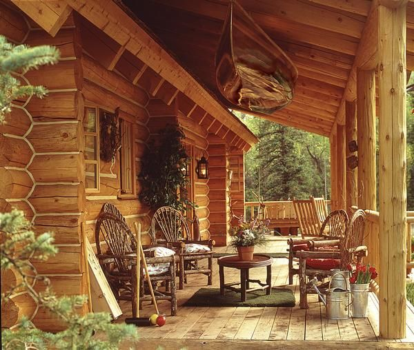 Dream of log home do your homework porch logs and cabin for Log cabin porches and decks