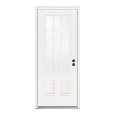 Jeld Wen Premium 12 Lite Primed White Steel Entry Door With Brickmold A26694 At The Home Depot Steel Entry Doors Entry Doors Front Door