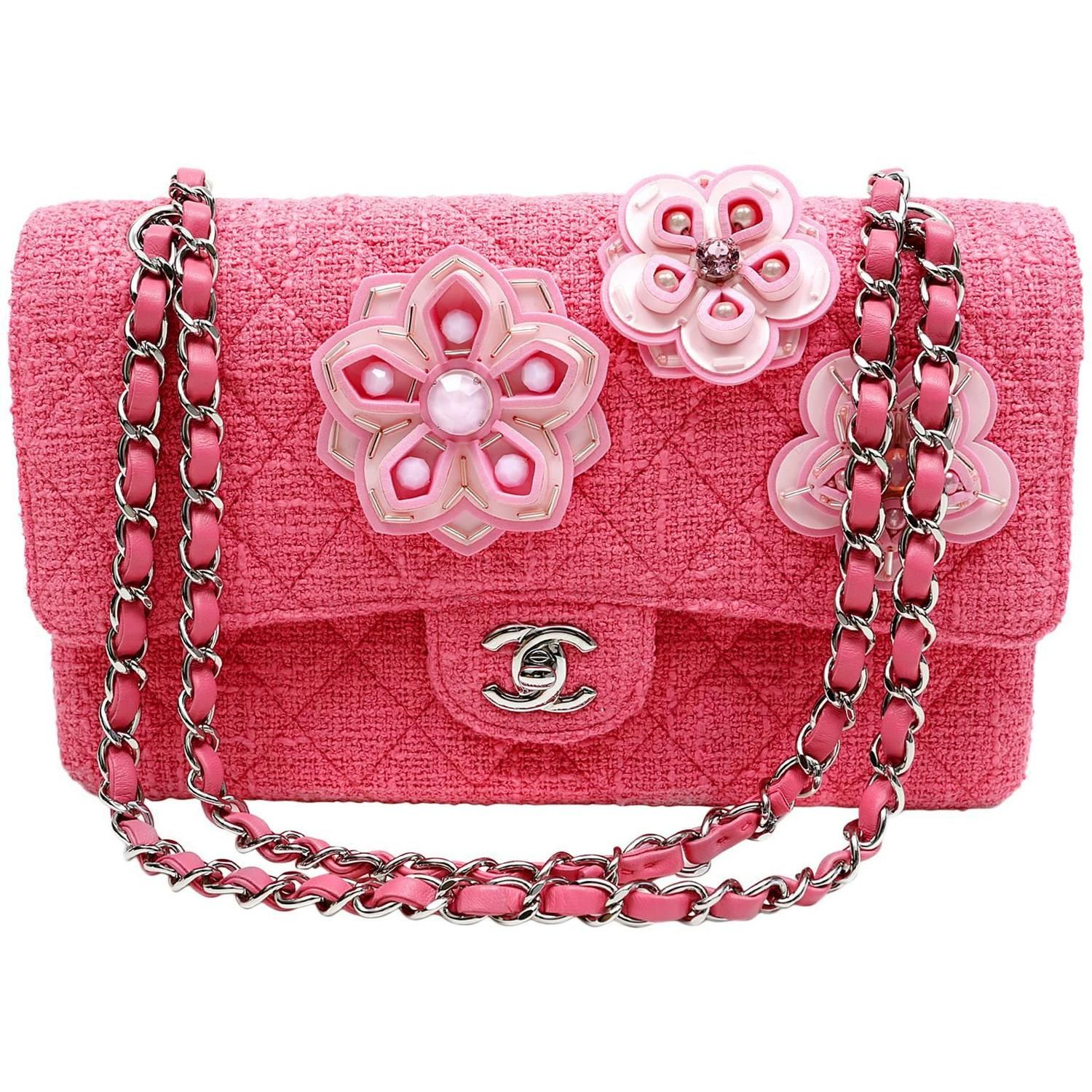 5d059f95a60bb8 Chanel Pink Camellia Flower Tweed Double Flap Classic | Bohemian ...
