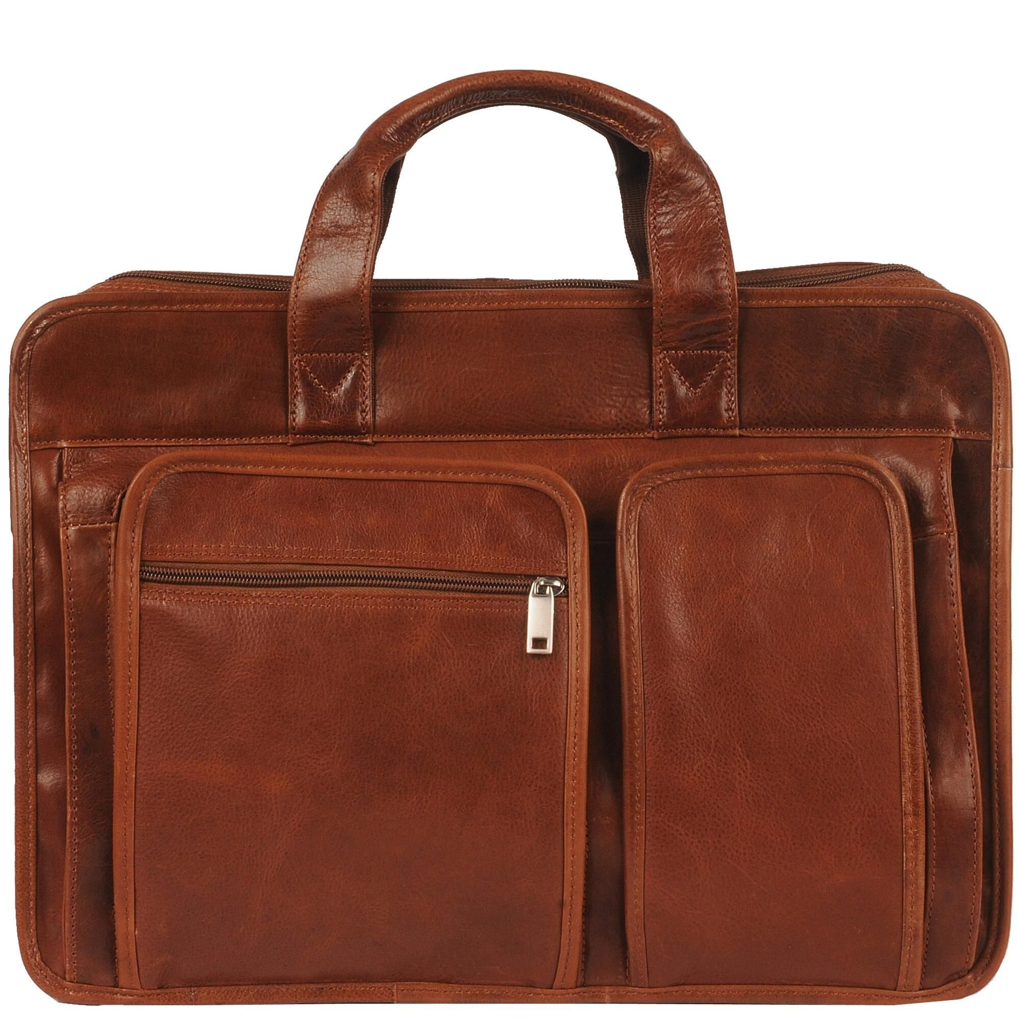 Rugged Leather Double Front Pocket Brief Rugged leather