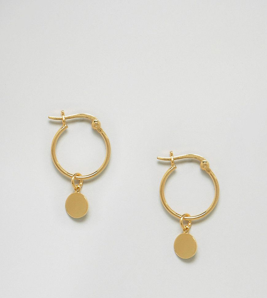 DESIGN Hoop earrings with vintage coin charms in gold plated sterling silver - Gold Asos JVvXGSNmS