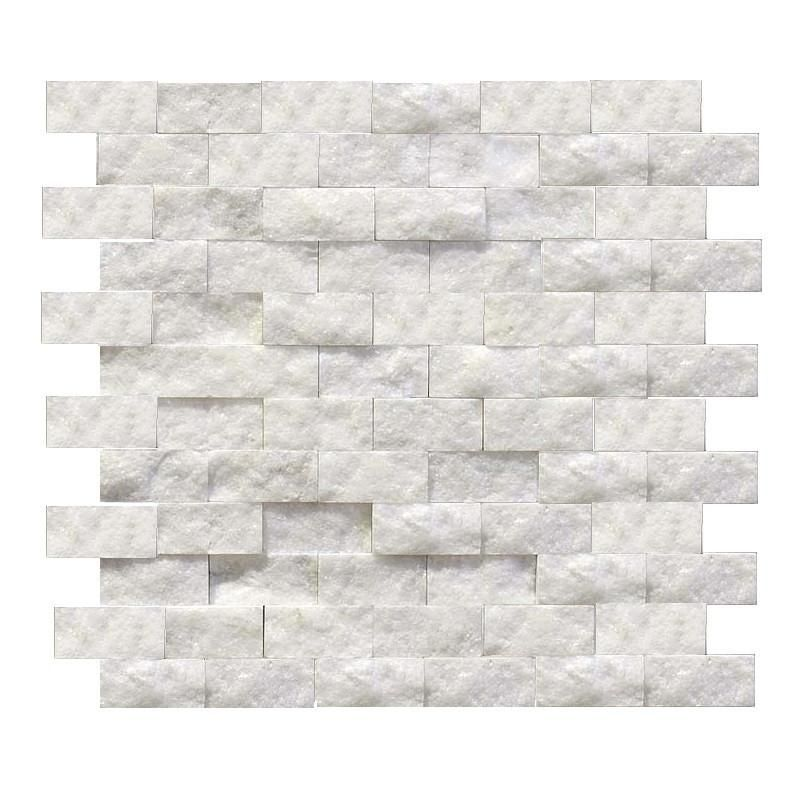 Italian Bianco Carrera White Carrara 1x2 Marble Split Face Mosaic Tile On 12 Inch X 12 Inch Sheet 1 Square F Mosaic Tiles White Stone Tiles Natural Stone Tile