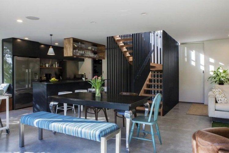 appartement-sans-cloisons-cuisine-moderne-décoration-vintage