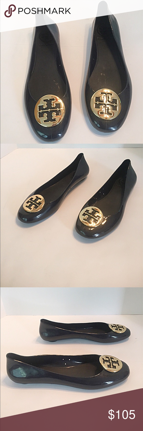 Tory Burch Navy Rubber Jelly Flats Navy blue with gold Tory Burch emblem.  In almost new condition. Great for rainy weather! I wear a size 9 and these  fit a ...