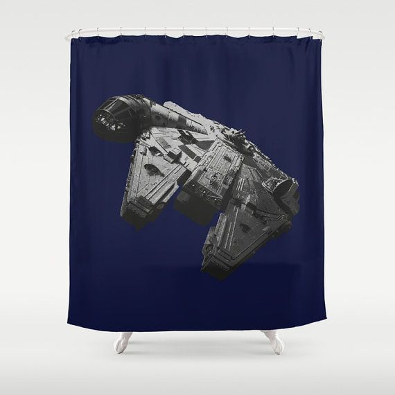 Star Wars Millennium Falcon Shower Curtain In Black And White On