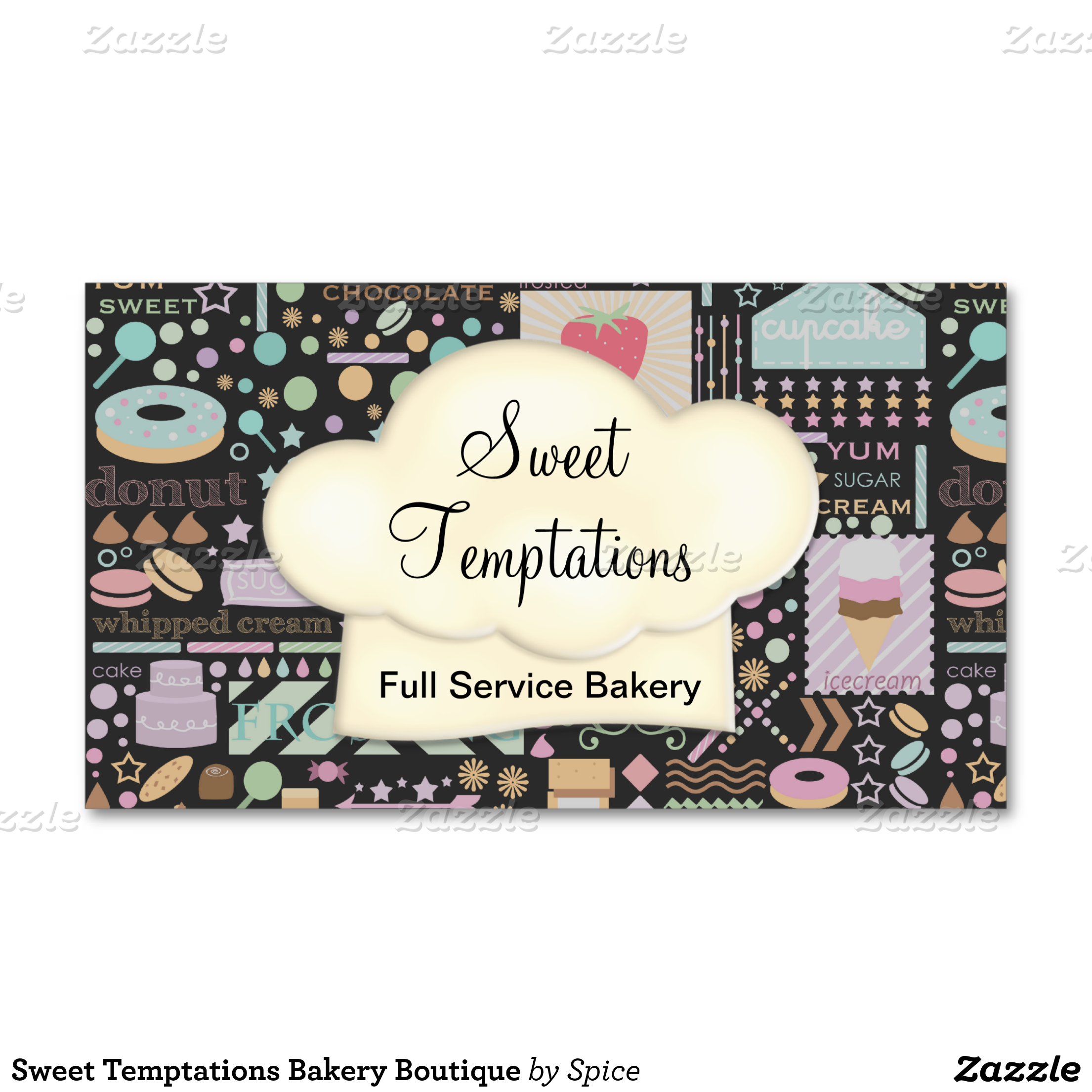 Fun whimsical bakery business card or event catering business full ...