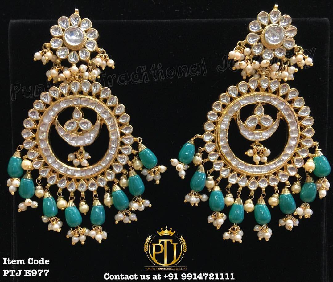 "Punjabi Traditional ""Gold Plated Emerald Kundan Earrings"