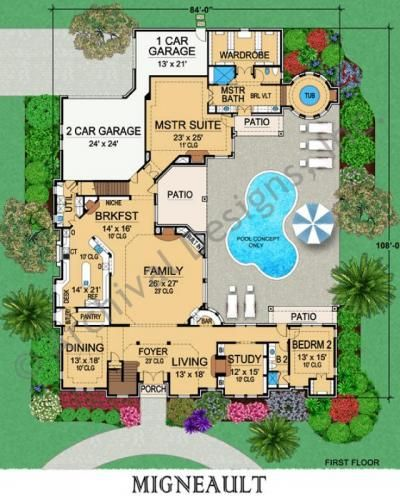 Migneault House Plan Home Plans By Archival Designs Luxury Floor Plans Monster House Plans House Plans