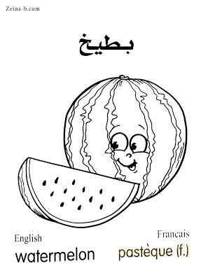 بطيخ Watermelon Pasteque رسومات خضروات وفاكهة للتلوين مع الأسماء عربي وانجليزى وفرنساوى In 2021 Art Color Fictional Characters