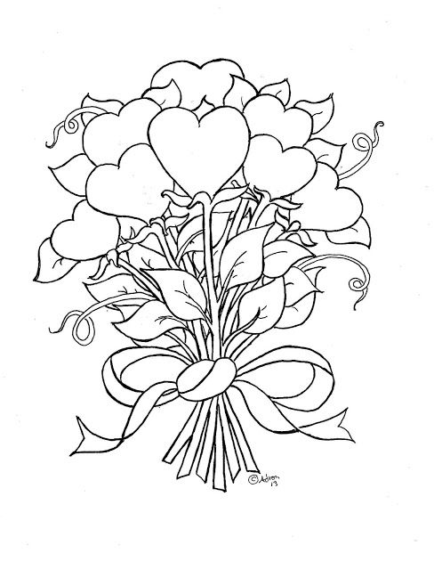 Coloring Pages For Kids By Mr. Adron: Flower Hearts Kid's Print And Color  Page Rose Coloring Pages, Heart Coloring Pages, Valentine Coloring Pages