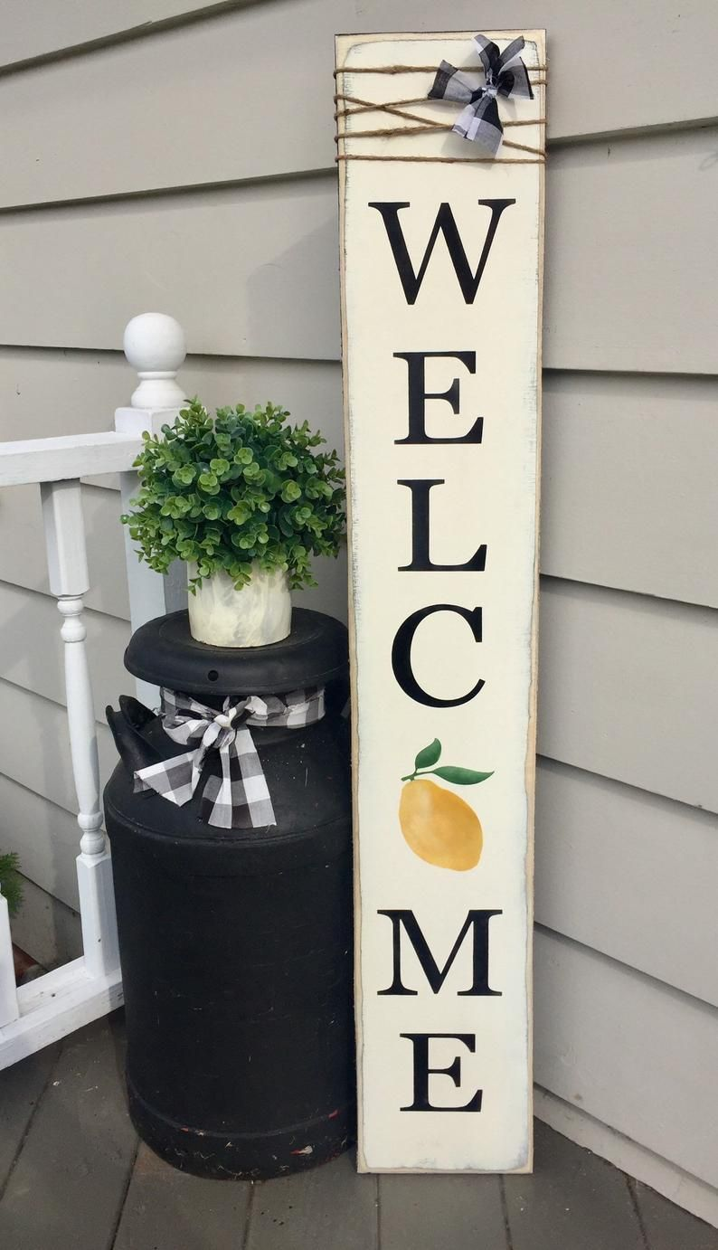 Lemon welcome sign lemon decor sign with lemon lemon porch | Etsy
