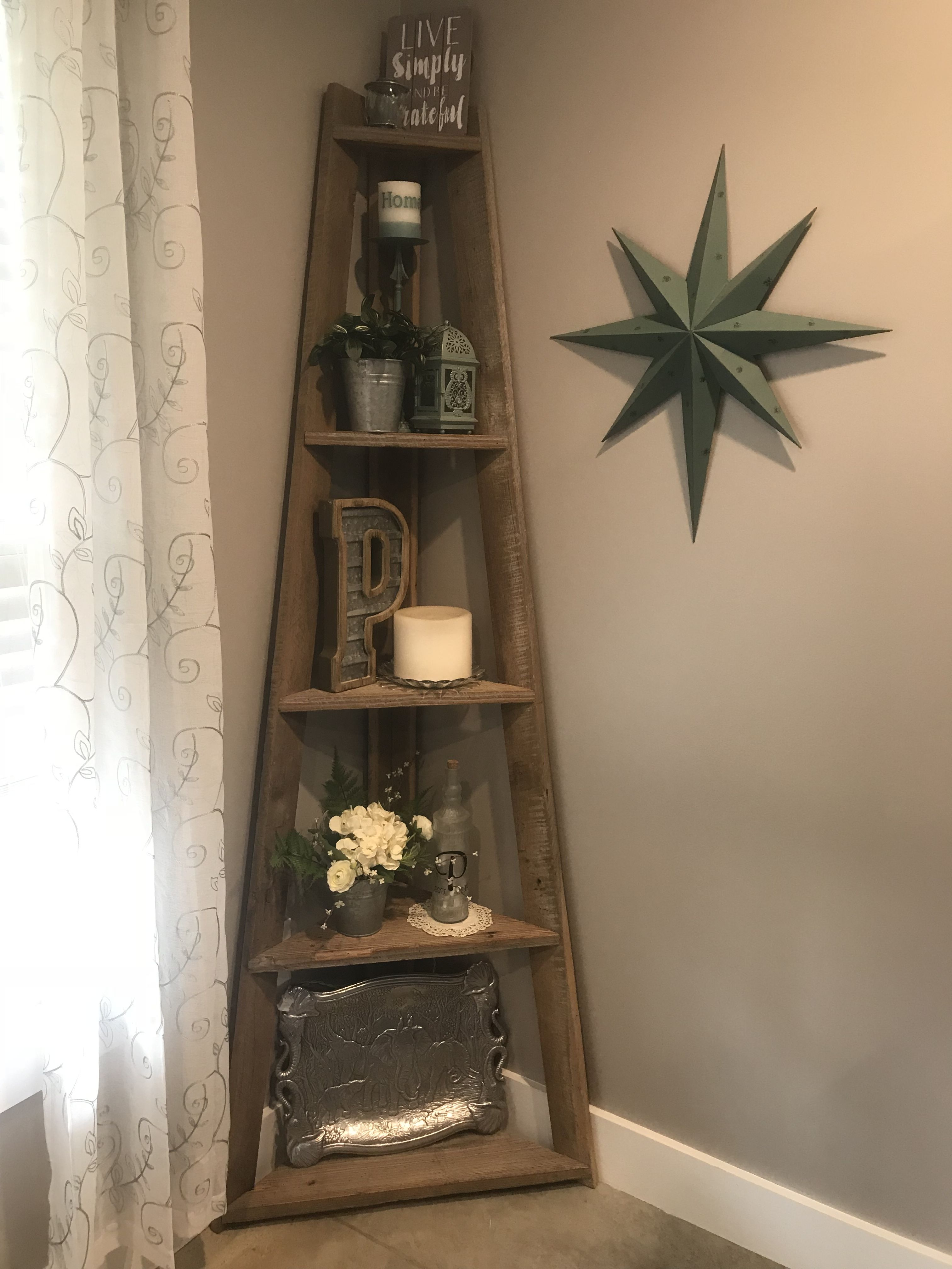 Farmhouse corner shelf decor Corner decor, Modern