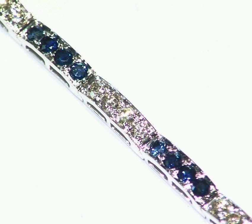 4.32CT 14K Gold Natural Sapphire White Cut Diamond Vintage Halo Tennis Bracelet