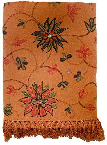Crewel Embroidered Mirrored Floral Wool Shawl Throw Burnt Orange Rust Olive Green Brown Steel Paisley http://www.amazon.com/dp/B018SZT892/ref=cm_sw_r_pi_dp_f-Fxwb0V3MJFG