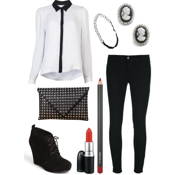 """Black and white cameo"" by mummy-style on Polyvore"