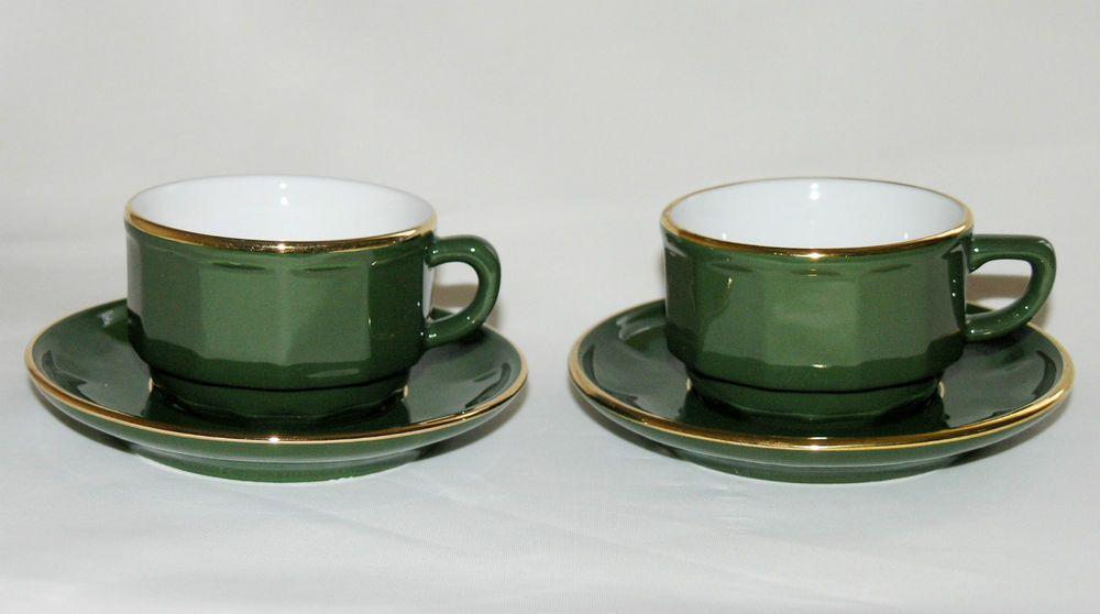 2 vtg Apilco France green gold bistro small espresso cups & saucers ...