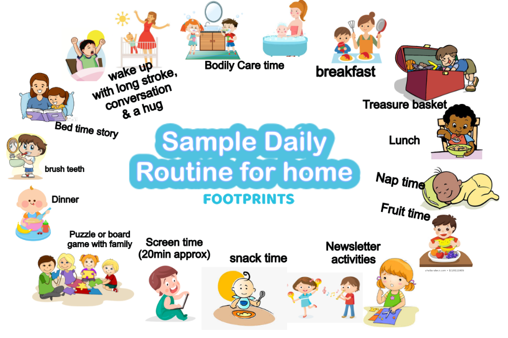 Photo of Chapter 4- Sample Daily routine at home | Footprints Childcare