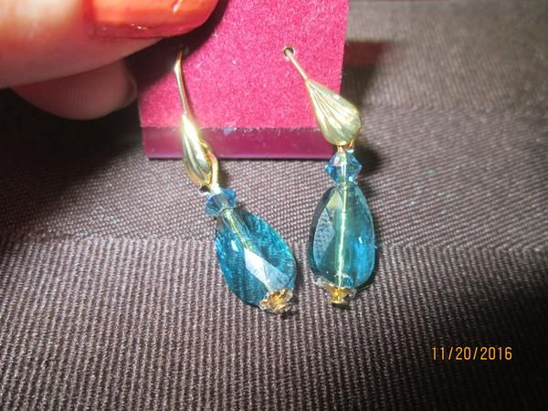 Swarovski Crystal Indicolite AB Teardrop Earrings  SW-E-21