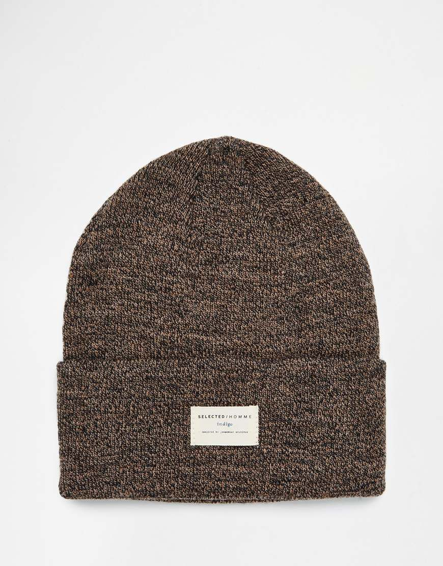 0cfa2b2d3b0 Beanie by Selected Soft-touch knit Turned up cuff Branded patch detail  Machine wash 100% Acrylic