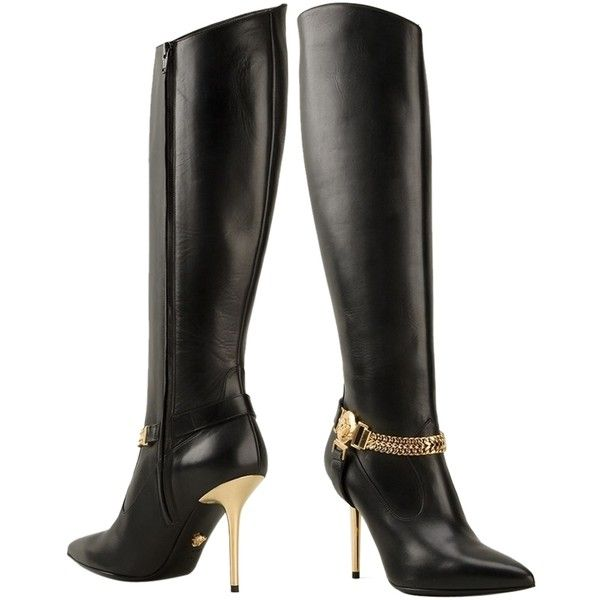 Pre-owned Versace Medusa Knee High Black Boots ($782) ❤ liked on Polyvore featuring shoes, boots, black, pointed toe high heels stilettos, side zip boots, high heels stilettos, pointy toe boots and black pointed toe boots