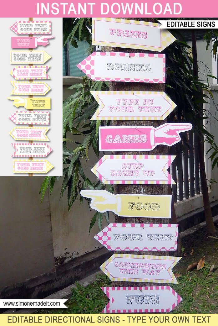 Carnival Party Directional Signs – Arrows – pink/yellow ...