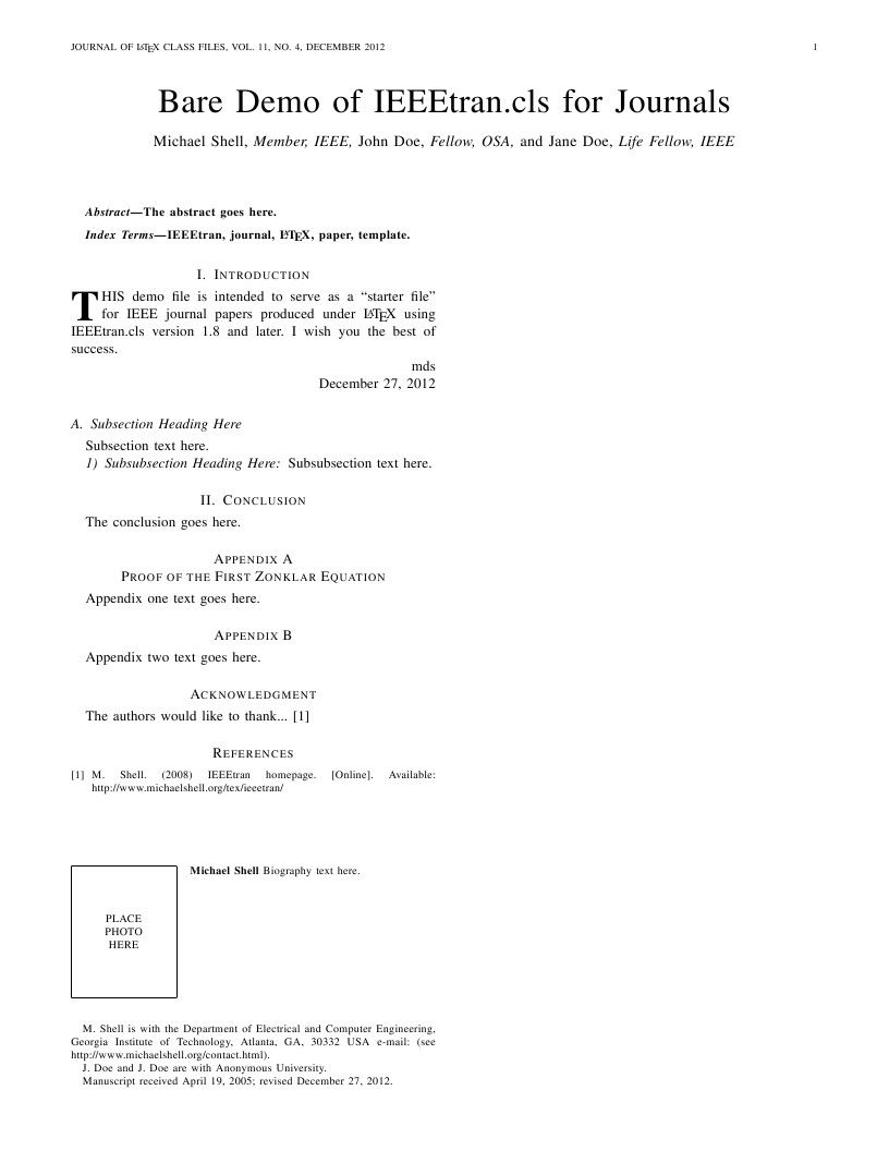 Nice Ieee Journal Latex Template Photo - Professional Resume ...