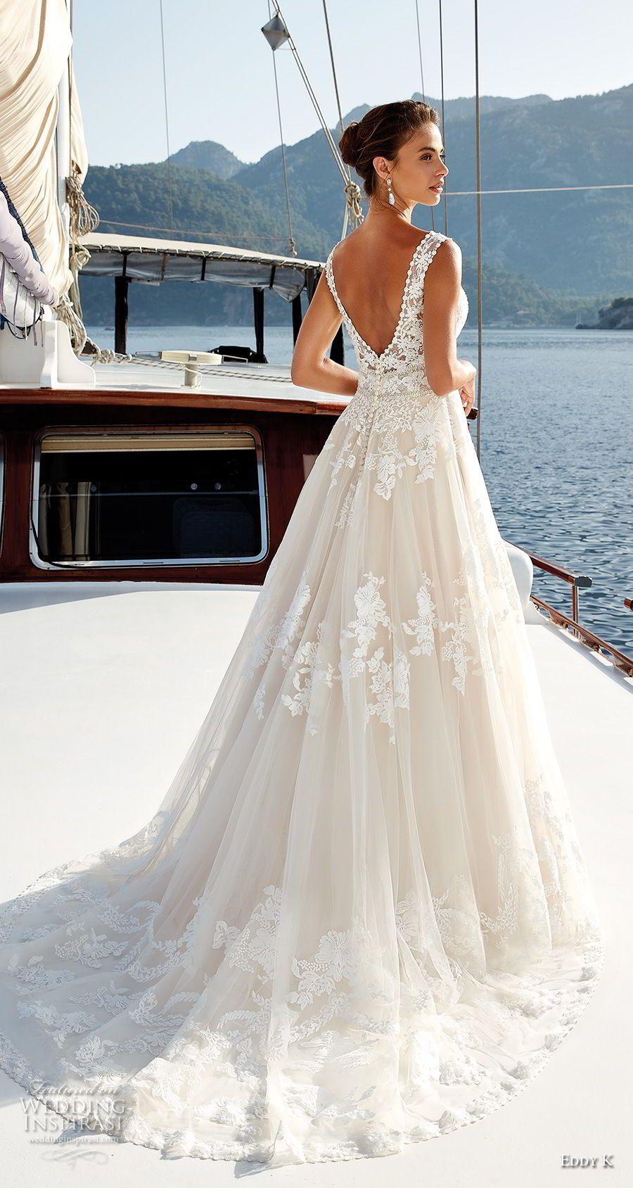 4d7f2aced546 eddy k 2018 bridal sleeveless v neck heavily embellished bodice romantic a  line wedding dress v back chapel train (21) bv -- Eddy K. Dreams 2019  Wedding ...