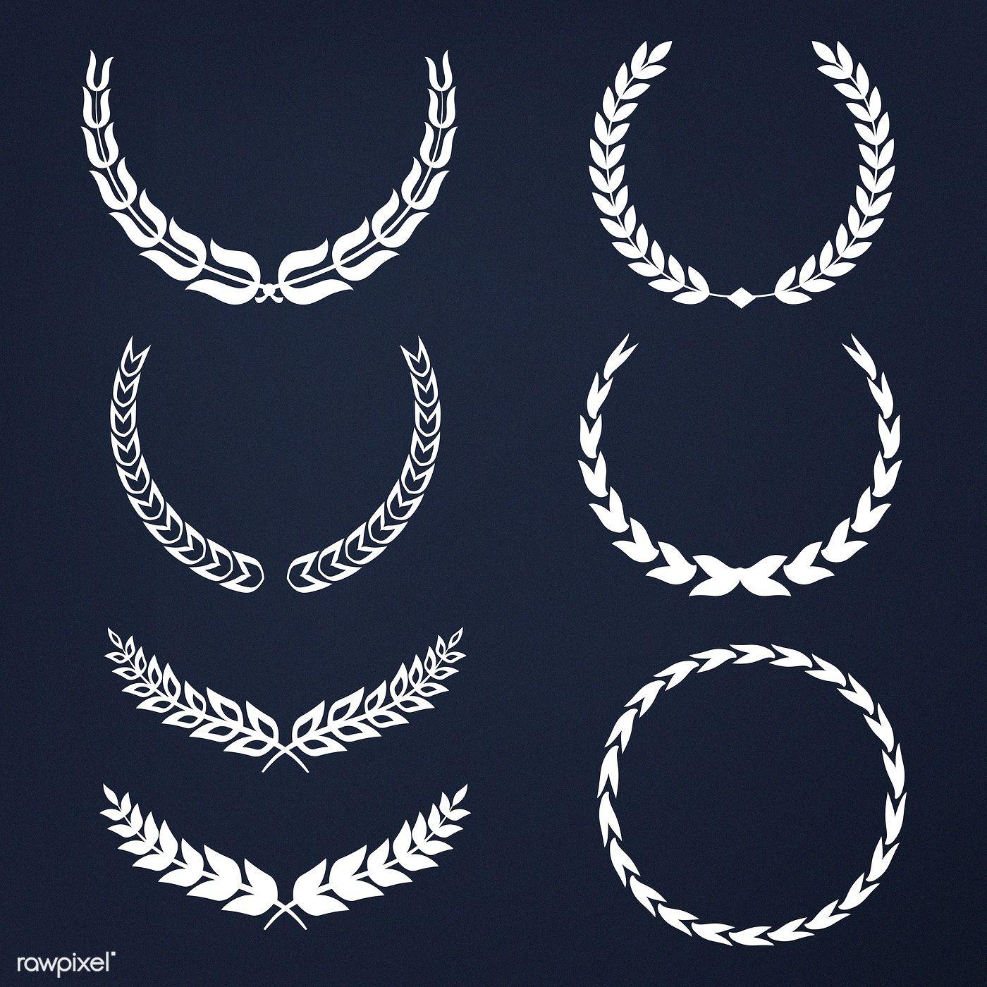 Set of laurel wreath illustration vectors free image by