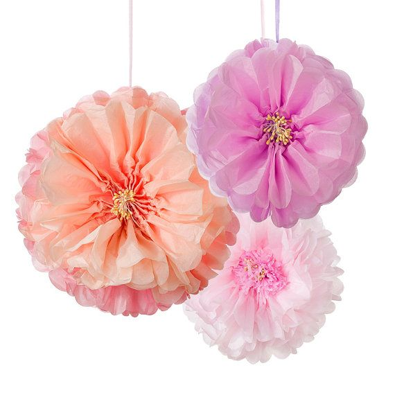 3 Blush Flower Pom Poms  Pastel Paper décoration by mapetitefete