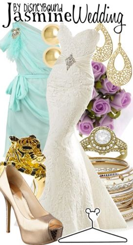Jasmine Wedding By Disney Bound Fashion Outfit Aladdinlove The Lace Dress And Purple Flowers