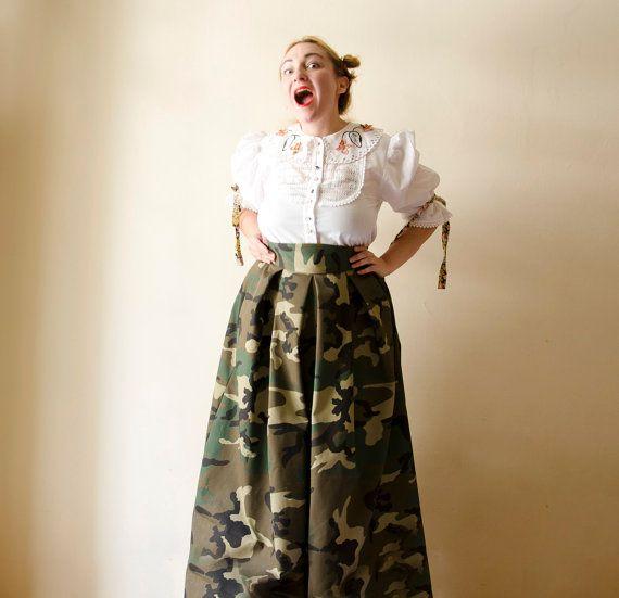 c18258eaad4 Camouflage Maxi Skirt High Waist Cotton Full by karmologyclinic