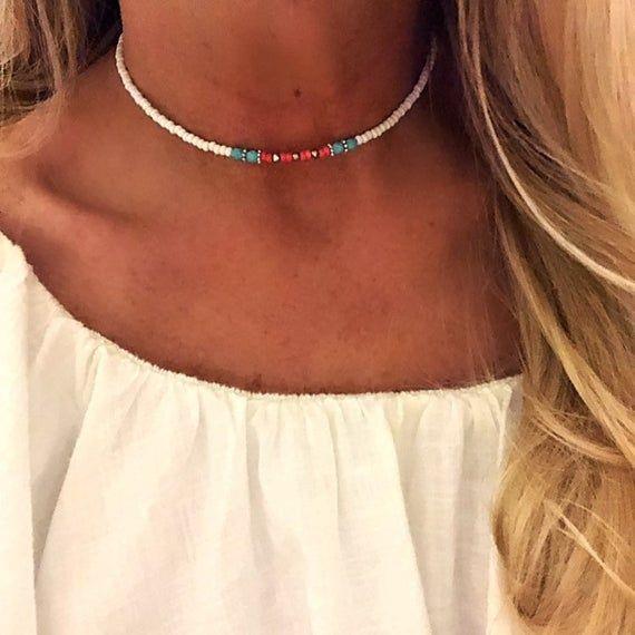 Photo of Beach choker/Beaded choker/Beaded necklace/Beach jewelry/Beach