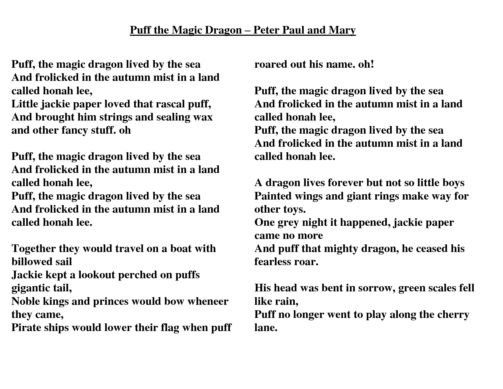 Puff The Magic Dragon Lyrics Google Search Lullaby Lyrics Puff The Magic Dragon Poetry For Kids