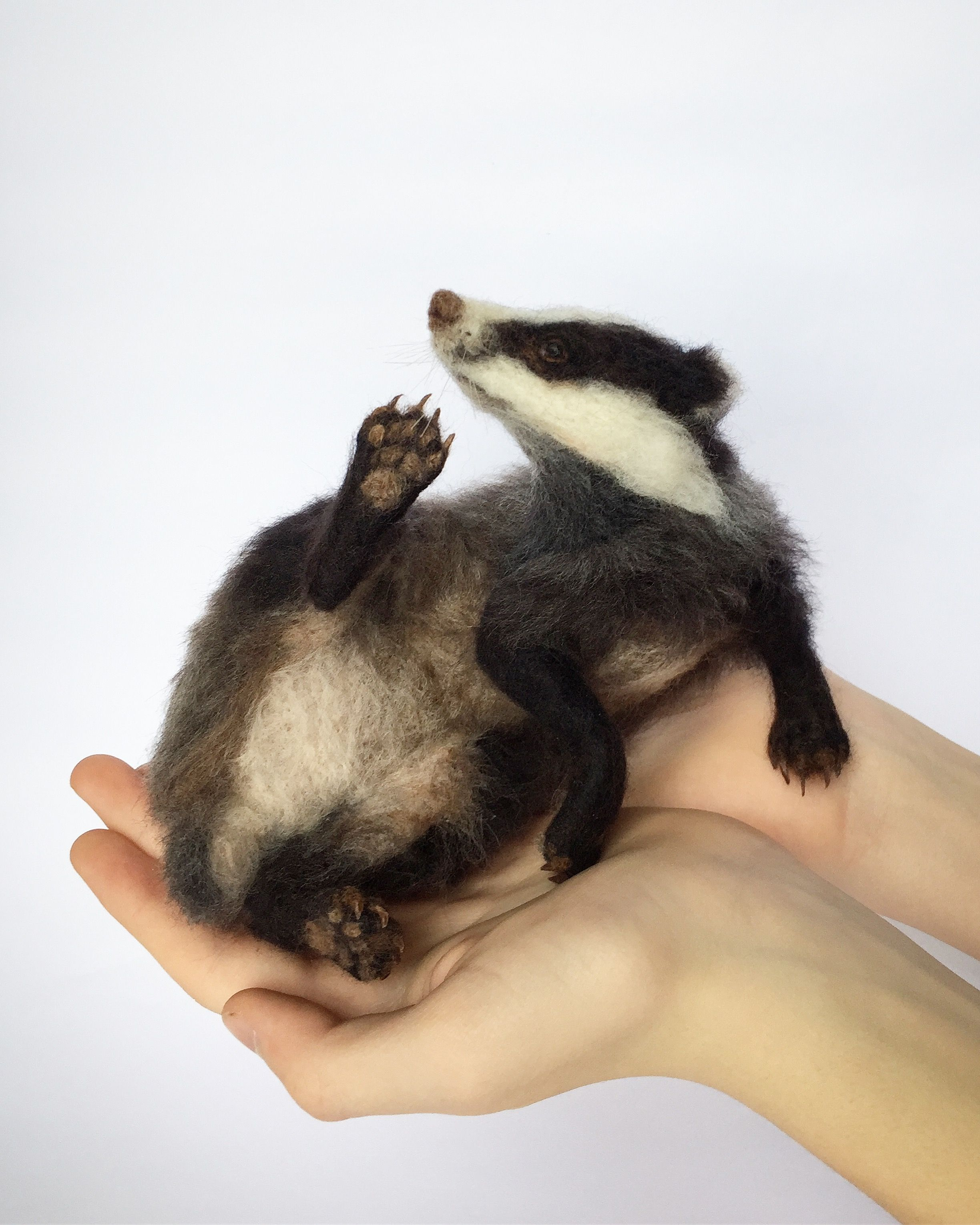 Needle Felted Badger #needlefeltedanimals