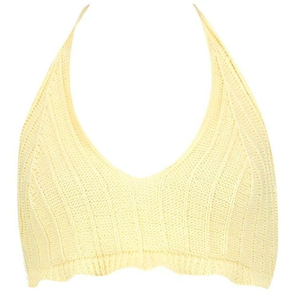 bcc514eab8 Boohoo Camilla Rib Knit Halterneck Bralet (12 CAD) ❤ liked on Polyvore  featuring tops