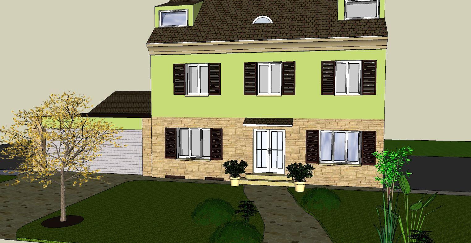 3D - vuzualization - house - stone frontage