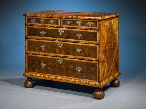 Antique Furniture, William and Mary, Oysterwood Chest ~ Oozing Charm!